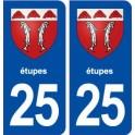 25 Étupes blason autocollant plaque stickers