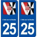 25 L'isle sur le Doubs coat of arms sticker plate stickers