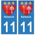 11 Narbonne ville autocollant plaque