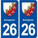 26 Anneyron blason autocollant plaque stickers ville