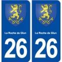 26 La Roche de Glun blason autocollant plaque stickers ville
