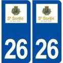 26 Saint Sorlinen Valloire logo autocollant plaque stickers ville