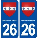 26 Beaumont lès Valence coat of arms sticker plate stickers city