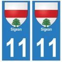 11 Sigean ville autocollant plaque