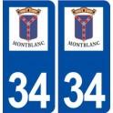 34 Montblanc logo ville autocollant plaque stickers