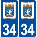 34 Puisserguier logo city sticker, plate sticker