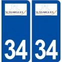 34 Sussargues logo ville autocollant plaque stickers