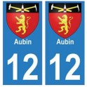 12 Aubin ville autocollant plaque