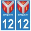 12 Baraqueville ville autocollant plaque