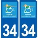 34 Balaruc le Vieux logo ville autocollant plaque stickers