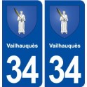 34 Vailhauquès coat of arms, city sticker, plate sticker