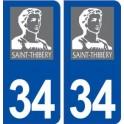 34 Saint Thibéry logo ville autocollant plaque stickers