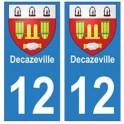 12 Decazeville ville autocollant plaque