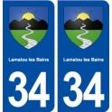 34 Lamalou les Bains blason ville autocollant plaque stickers