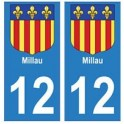 12 Millau ville autocollant plaque