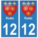 12 Rodez ville autocollant plaque