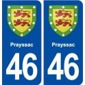 46 Prayssac blason ville autocollant plaque stickers département