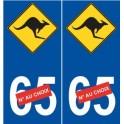 Kangourou australie sticker auto numéro choix autocollant plaque immatriculation