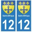 12 Saint-Affrique ville autocollant plaque