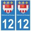 12 Villefranche-de-rouergue ville autocollant plaque