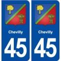 45 Chevilly blason ville autocollant plaque stickers