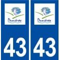 43 Dunières logo autocollant plaque immatriculation ville