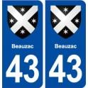 43 Beauzac blason autocollant plaque immatriculation ville