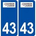 43 Le Chambon sur Lignon logo autocollant plaque immatriculation ville