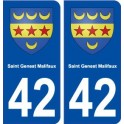 42 Saint Genest Malifaux coat of arms, city sticker, plate sticker