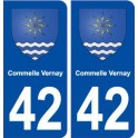 42 Commelle Vernay blason ville autocollant plaque stickers