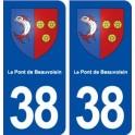 38 Le Pont de Beauvoisin blason ville autocollant plaque stickers