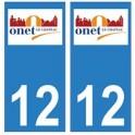12 Onet-le-Château ville autocollant plaque
