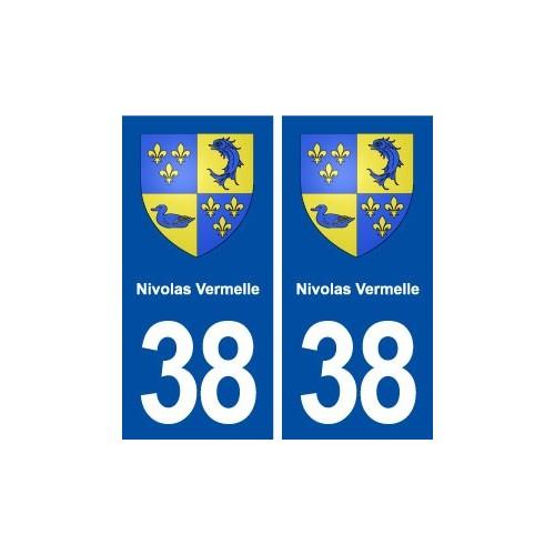 38 Nivolas Vermelle blason ville autocollant plaque stickers