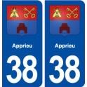 38 Apprieu blason ville autocollant plaque stickers