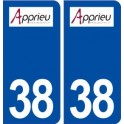 38 Apprieu logo city sticker, plate sticker
