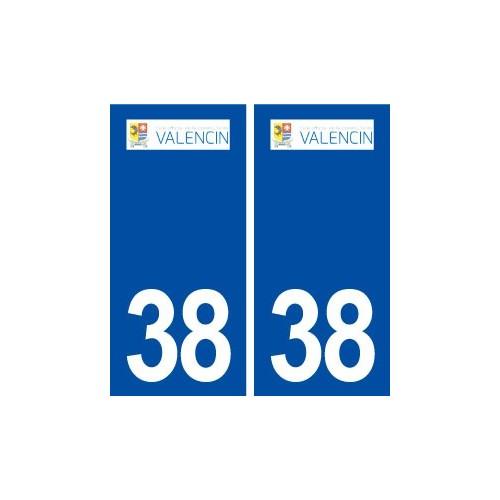 38 Valencin logo ville autocollant plaque stickers