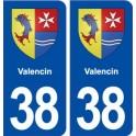 38 Valencin blason ville autocollant plaque stickers