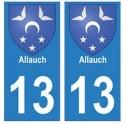 13 Allauch ville autocollant plaque