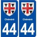 44 Chéméré blason ville autocollant plaque stickers