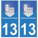 13 Châteauneuf-les-Martigues ville autocollant plaque