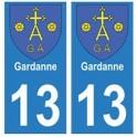 13 Gardanne ville autocollant plaque