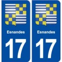 17 Esnandes coat of arms, city sticker, plate sticker