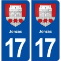 17 Jonzac coat of arms, city sticker, plate sticker