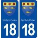 18 Saint Martin d'Auxigny blason autocollant plaque ville sticker