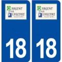 18 Argent sur Sauldre logo autocollant plaque ville sticker