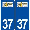 37 Azay le Rideau logo city sticker, plate sticker