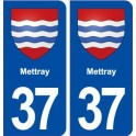 37 Mettray coat of arms, city sticker, plate sticker
