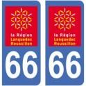 66 Pyrénées-Orientales autocollant plaque