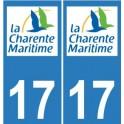 17 CG Charente-Maritime sticker plate registration sticker