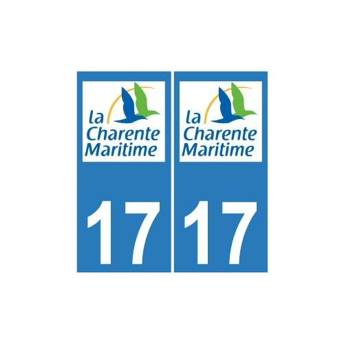 17 CG Charente-Maritime autocollant plaque immatriculation sticker